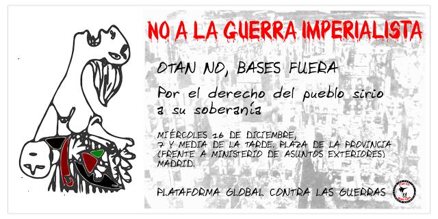 Contra el imperialismo, sin tapujos. Convocatoria-concentración 'No a la guerra imperialista'