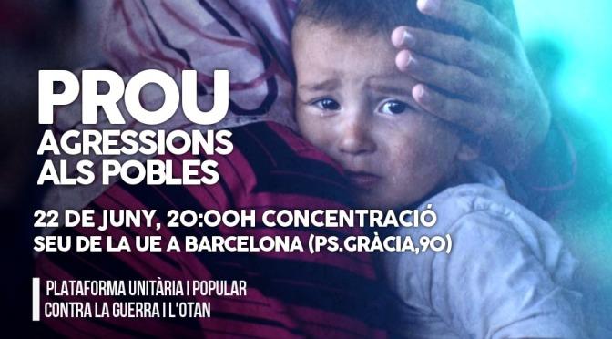 Pels refugiats, contra les guerres, pels Pobles: concentració dimecres 22