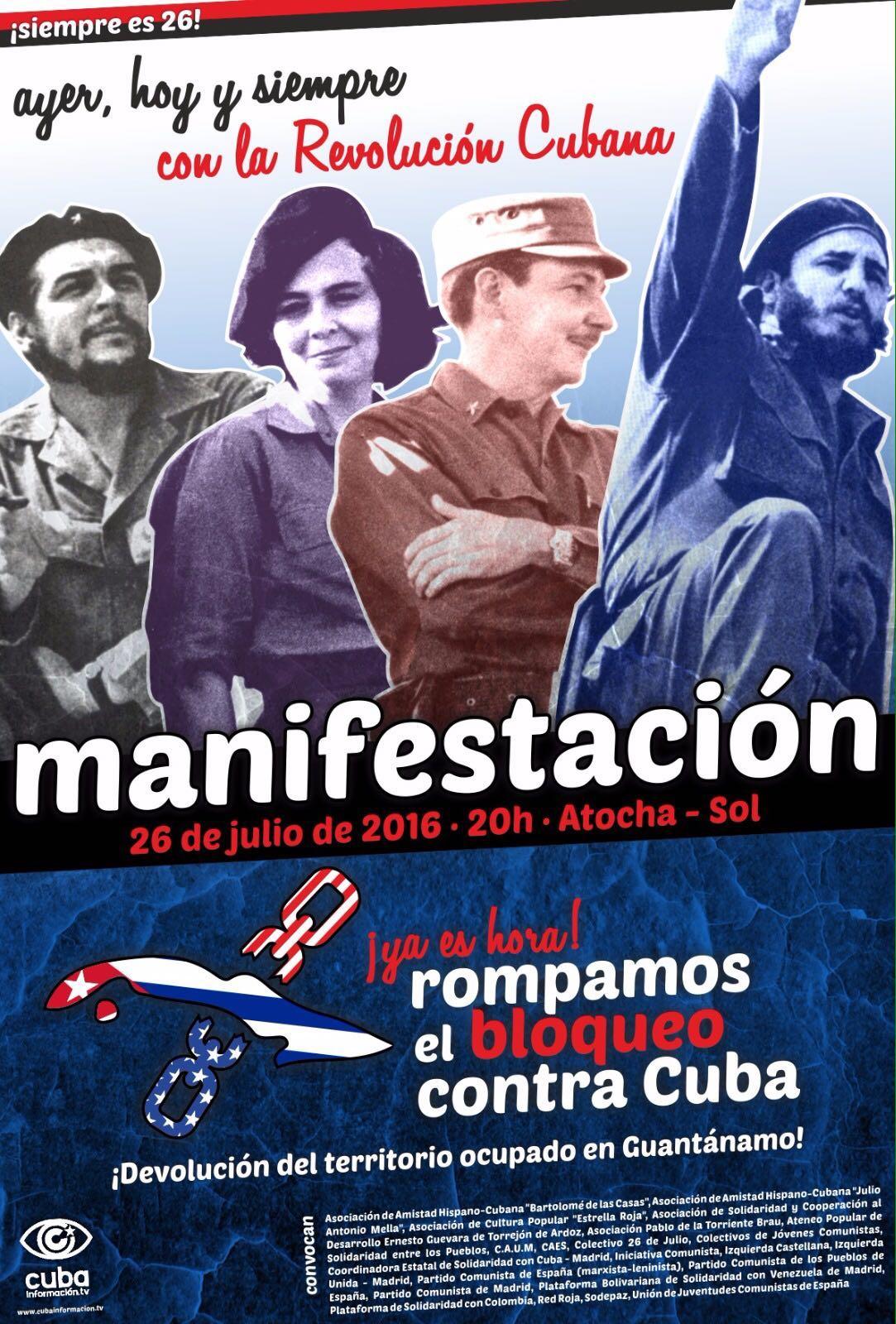 Manifestación 26 de Julio Solidaridad Con la Revolución Cubana