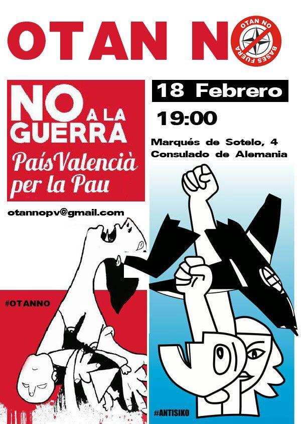 Concentración anti-Otan, Valencia 18-f, en respuesta a la cumbre de Munich