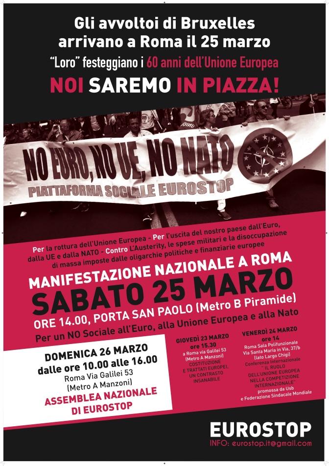 Manifestación en Roma contra la OTAN, la UE y el euro