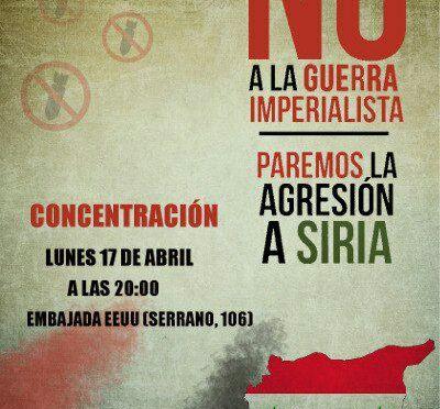 Convocatoria contra intervención de EEUU en Siria. Lunes 17, 20 horas, embajada de EEUU. Movimiento de Apoyo  a Siria.