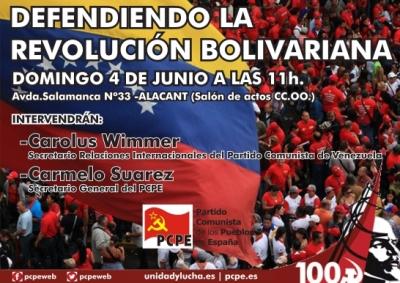 Acto internacional 4 de junio en Alacant: Defendiendo la revolución bolivariana
