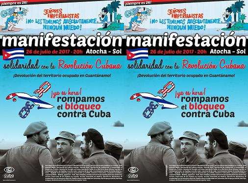 Miercoles 26 de Julio 20.00hs Manifestación Atocha – Sol en solidaridad con la Revolución Cubana