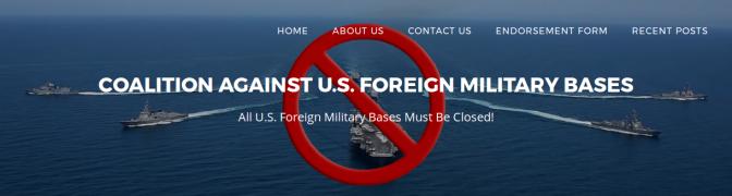 ¡Todas la bases militares de los EEUU en el extranjero deben ser cerradas! (en inglés)