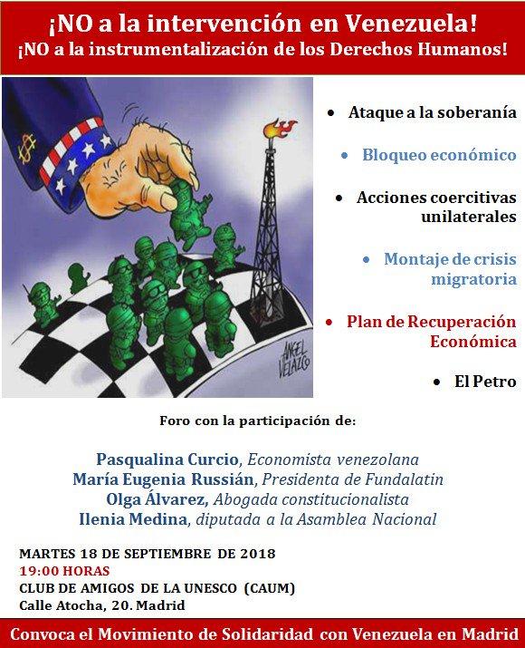 Martes 18 Sept CAUM  acto contra la intervención en Venezuela